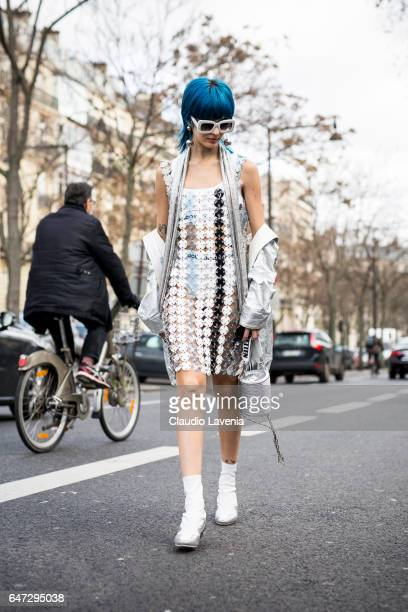 Sita Abellan is seen before the Paco Rabanne show at the Musee d'Art Moderne during Paris Fashion Week Womenswear Fall/Winter 2017/2018 on March 2...