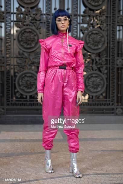 Sita Abellan is seen on the street attending MAISON MARGIELA during Paris Fashion Week AW19 wearing MAISON MARGIELA pink jumpsuit on February 27,...