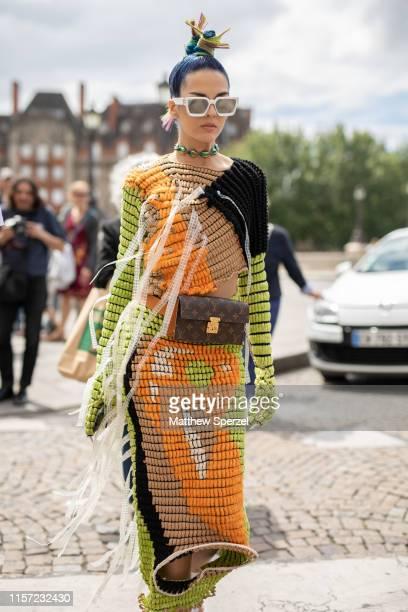Sita Abellan is seen on the street attending Paris Men's Fashion Week on June 20, 2019 in Paris, France.