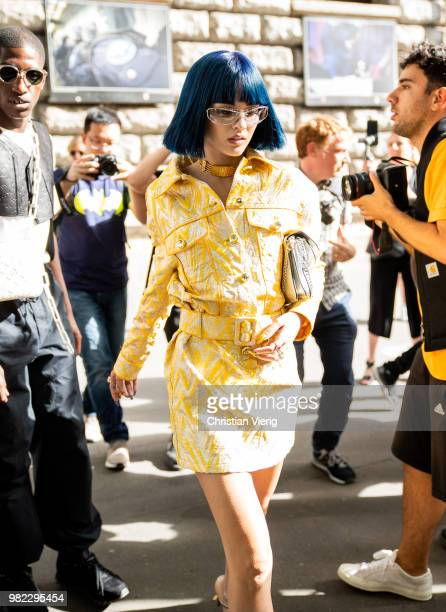 Sita Abellan is seen outside Dior Homme on day five of Paris Fashion Week Menswear SS19 on June 23 2018 in Paris France