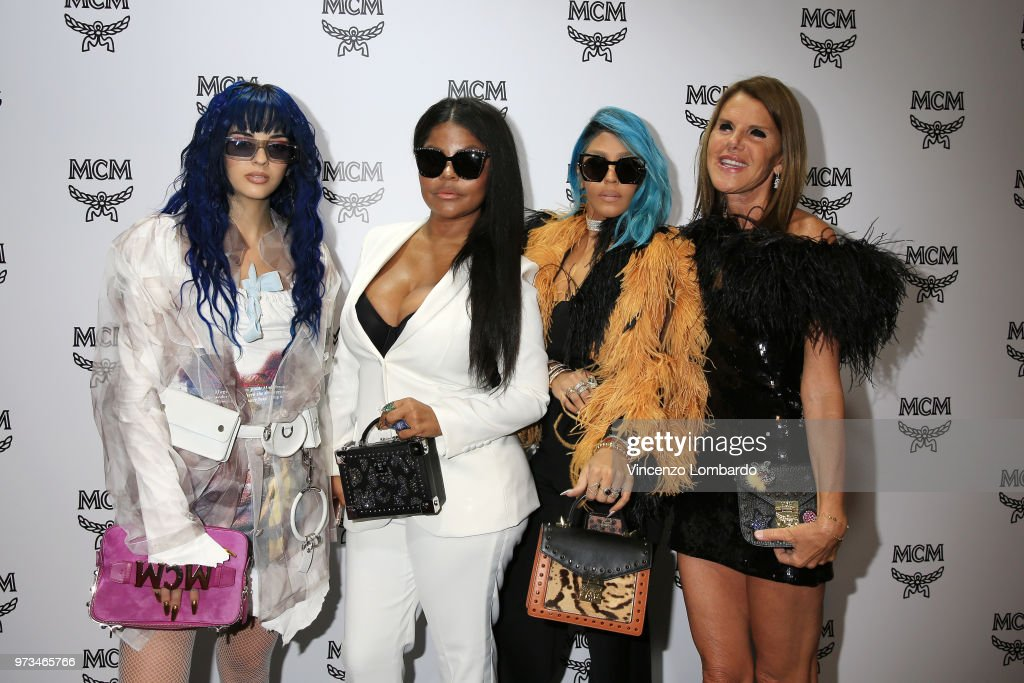 Sita Abellan, Misa Hylton, Talia Coles and Anna Dello Russo attend the MCM Fashion Show Spring/Summer 2019 during the 94th Pitti Immagine Uomo on June 13, 2018 in Florence, Italy.