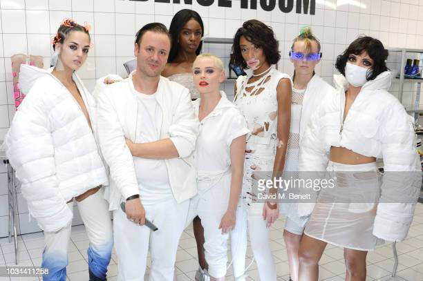 Sita Abellan, Nicholas Kirkwood, Leomie Anderson, Rose McGowan, Winnie Harlow and models attend the Nicholas Kirkwood SS19 show during London Fashion...