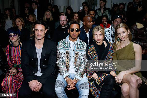 Sita Abellan Rugby player Dan Carter Formula One driver Lewis Hamilton Sofia Richie and Ilona Smet attend the Balmain Menswear Fall/Winter 20172018...