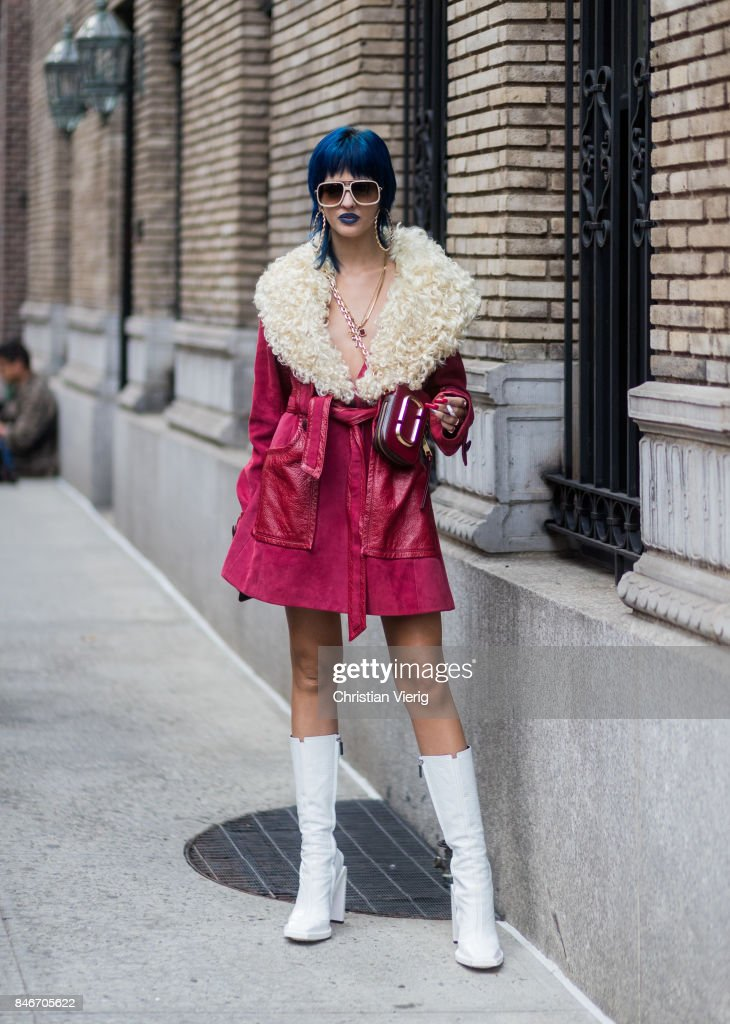 Sita Abellan seen in the streets of Manhattan outside Marc Jacobs during New York Fashion Week on September 13, 2017 in New York City.