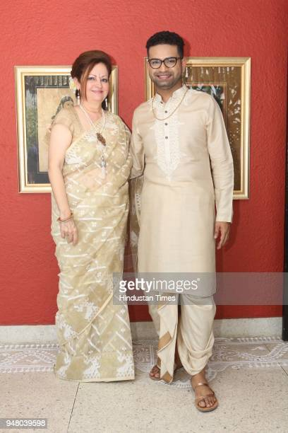 Sita Raina and designer Pranay Baidya during a lunch party on the occasion of Bengali New Year hosted by the designer Pranay Baidya at D85 Dron Marg...