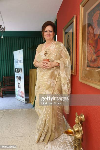 Sita Raina poses during a lunch party on the occasion of Bengali New Year hosted by the designer Pranay Baidya at D85 Dron Marg Defence Colony on...