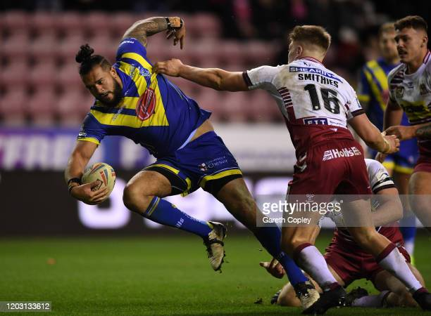Sitaleki Akauola of Warrington during the Super League match between Wigan Warriors and Warrington Wolves at DW Stadium on January 30 2020 in Wigan...