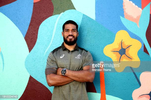 Sitaleki Timani of the Wallabies poses for a portrait during an Australian Wallabies media opportunity at Crowne Plaza Coogee on April 13, 2021 in...