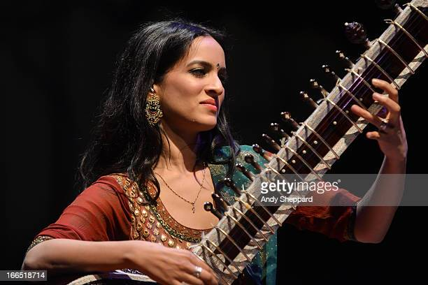 Sitar player Anoushka Shankar performs on stage during the Alchemy Festival 2013 at the Queen Elizabeth Hall on April 13 2013 in London England