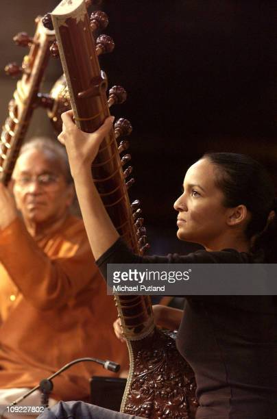Sitar players Ravi Shankar and daughter Anoushka Shankar perform on stage at Union Chapel London 22nd July 2002