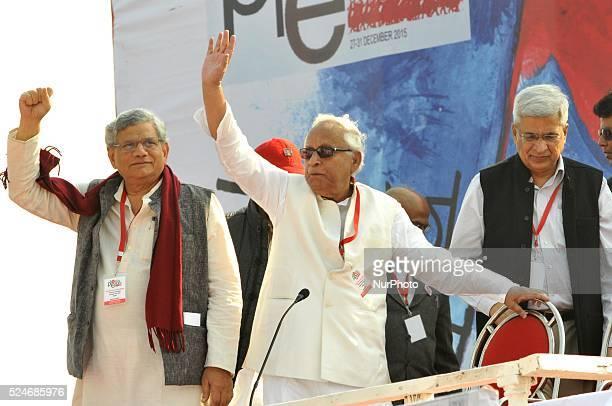 Sitaram Yechury General Secretary of Communist Party of India along Buddhadeb Bhattacharyy Former Chief Minister of West BengalPrakash Karat CPI...