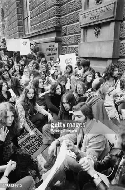 Sit-down protest against the Oz obscenity trial outside the Central Criminal Court in London, UK, 1971.
