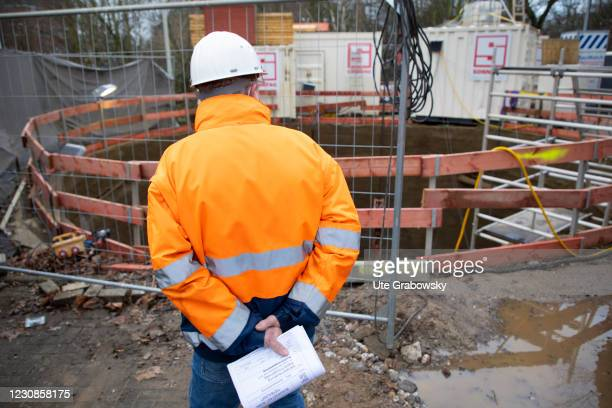 Site management at a major construction site of Deutsche Bahn AG on January 29, 2021 in Bonn, Germany.