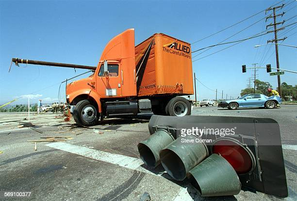 Site of a accident involving an Allied moving truck carrying 3000 lbs of furniture and a Camaro at the intersection of Las Posas and Pleasent Valley...