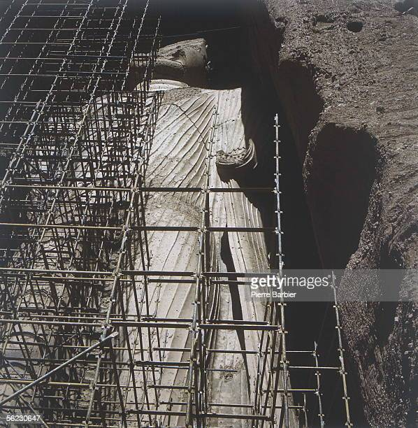 Site of Bamiyan Statue of little Buddha cut in the cliff Works of restoration 1970 PB10294