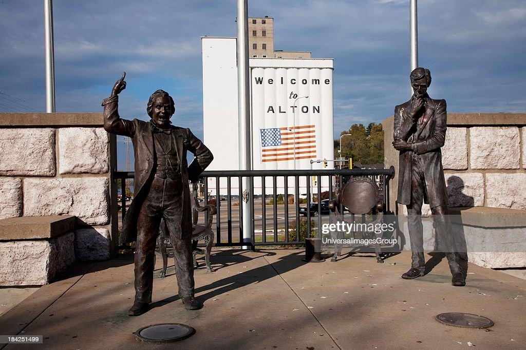 Site of historic debate between Senator Stephen Douglas and Abraham Lincol : News Photo