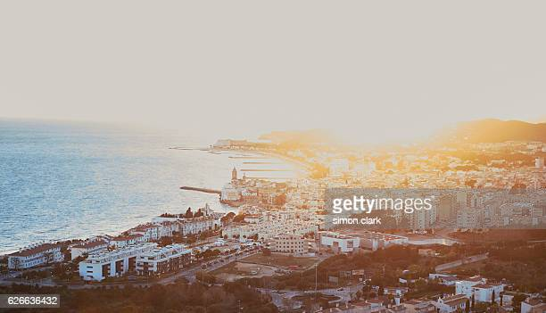 Sitges beach Town cityscape at sunset from high perspective