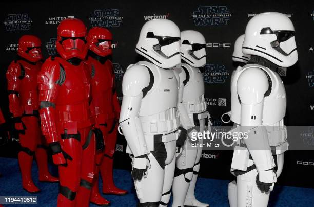 Sith trooper and stormtrooper characters arrive at the premiere of Disney's Star Wars The Rise of Skywalker on December 16 2019 in Hollywood...