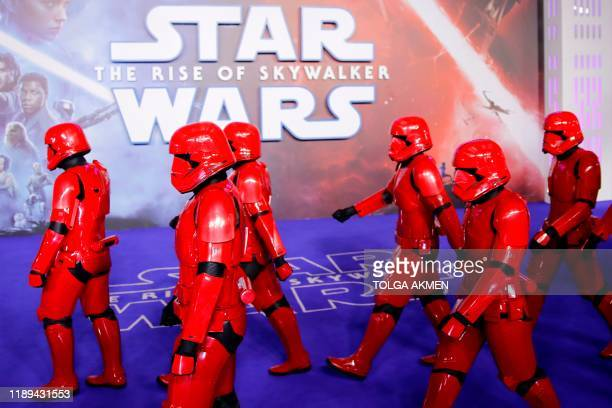 Sith troopers appear on the red carpet for the European film premiere of Star Wars The Rise of Skywalker in London on December 18 2019