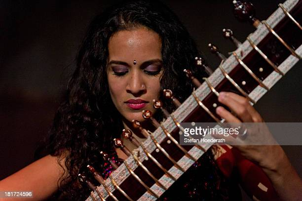 Sithar player Anoushka Shankar performs live during a Yellow Lounge organized by recording label Deutsche Grammophon at Berghain nightclub on...