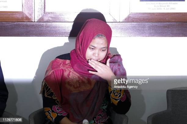 Siti Aisyah appears during the press conference at the Embassy of The Republic of Indonesia in Kuala Lumpur Malaysia on March 11 2019 The 27yearold...