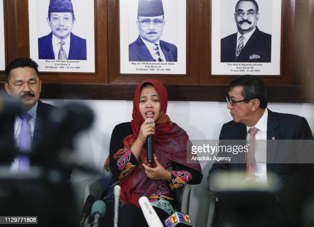 Siti Aisyah speaks during the press conference at the Embassy of The Republic of Indonesia in Kuala Lumpur Malaysia on March 11 2019 The 27yearold...