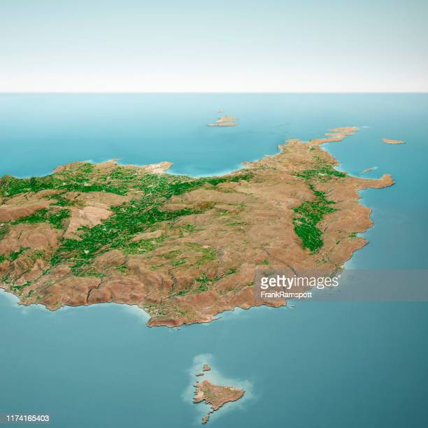 sitia crete island 3d render aerial horizon view from south mar 2019 - frank ramspott stock pictures, royalty-free photos & images