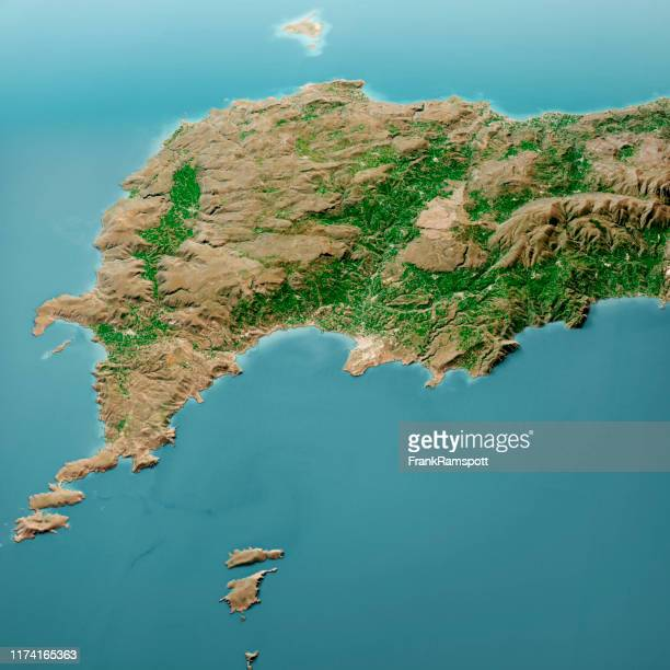 sitia crete island 3d render aerial landscape view from north mar 2019 - frank ramspott stock pictures, royalty-free photos & images