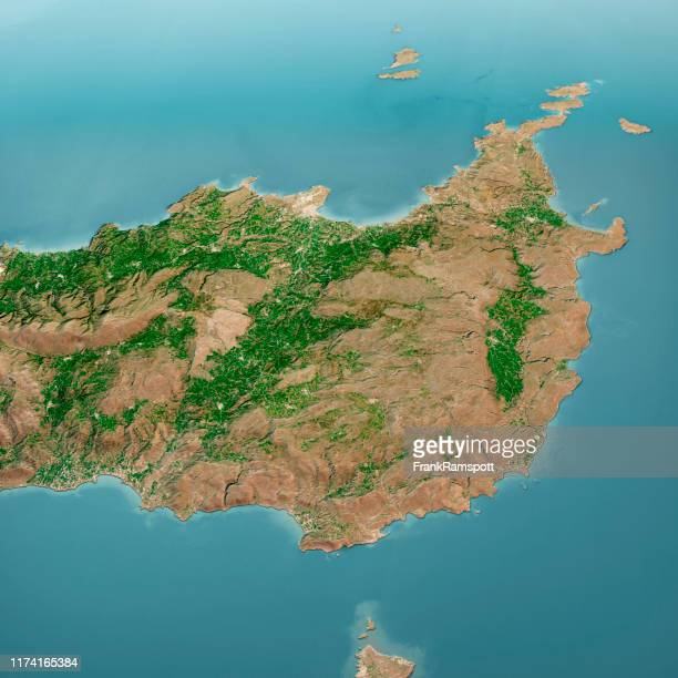 sitia crete island 3d render aerial landscape view from south mar 2019 - frank ramspott stock pictures, royalty-free photos & images