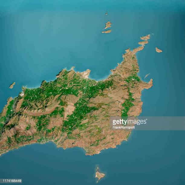 sitia crete island 3d render aerial top view mar 2019 - frank ramspott stock pictures, royalty-free photos & images