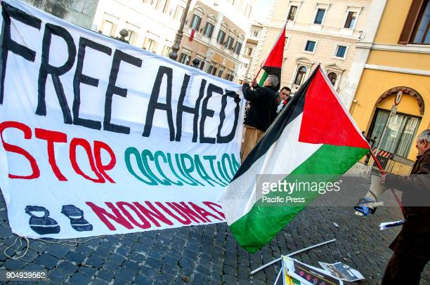 Sitin in front of Montecitorio in Rome to demand the release of Ahed Tamimi and all the Palestinian children locked up in Israeli jails