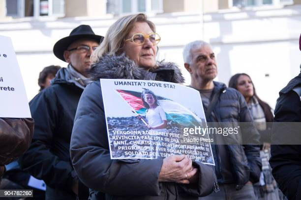 A sitin in Rome in front of the Italian Parliament to protest against the imprisonment in Israel of Ahed Tamimi