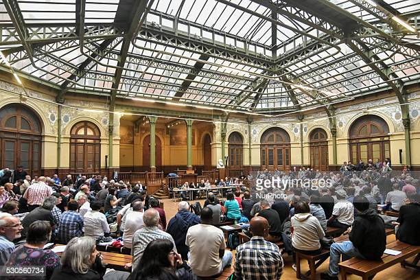 Sitin of hundreds of railway workers of French state rail operator SNCF in the gare Montparnasse railway station in Paris on May 11 to defend their...