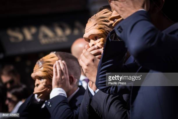 Sitin of the parliamentary assistants show in Piazza Montecitorio to ask for the regularization of the employment relations on October 05 2017 in...