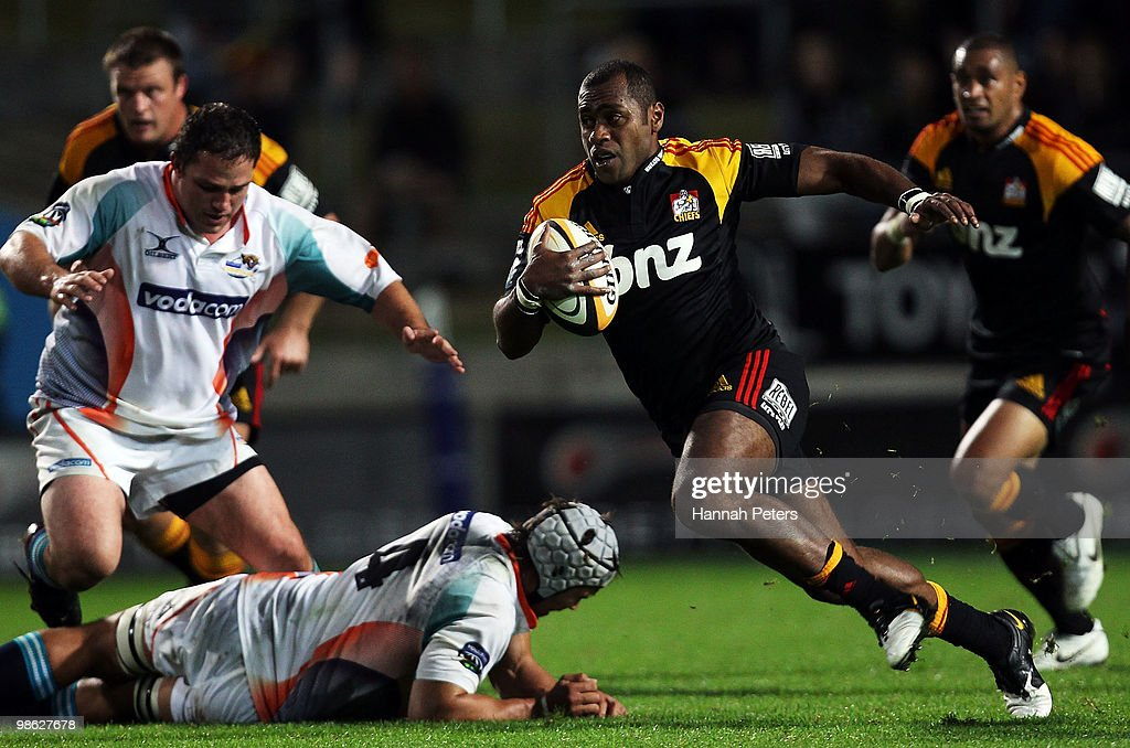 Sitiveni Sivivatu of the Chiefs makes a break during the round 11 Super 14 match between the Chiefs and the Cheetahs at Waikato Stadium on April 23, 2010 in Hamilton, New Zealand.