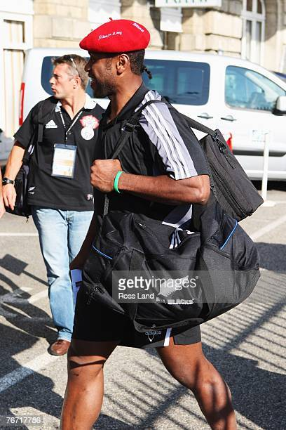 Sitiveni Sivivatu of the New Zealand All Blacks arrives at the team hotel following the high speed train trip on September 13 2007 between Marseille...