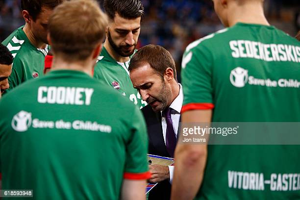 Sito Alonso Head Coach of Baskonia Vitoria Gasteiz in action during the 2016/2017 Turkish Airlines EuroLeague Regular Season Round 4 game between...