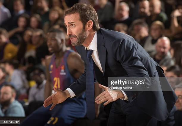 Sito Alonso Head Coach of FC Barcelona Lassa in action during the 2017/2018 Turkish Airlines EuroLeague Regular Season Round 19 game between FC...