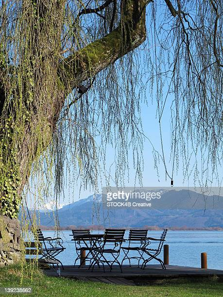Sitting area at the Chiemsee, Bavaria, Germany
