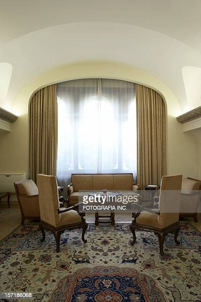 sitting area - persian rug stock photos and pictures