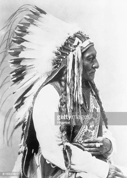 Sitting Bull a Hunkpapa Sioux chief victorious in the battle against American forces led by General Custer at the Battle of Little Bighorn in 1876