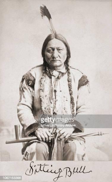 Sitting Bull born circa 1831-1890 Hunkpapa Lakota Sioux holy man After a portrait on a 19th century cabinet card Facsimile of his signature beneath...