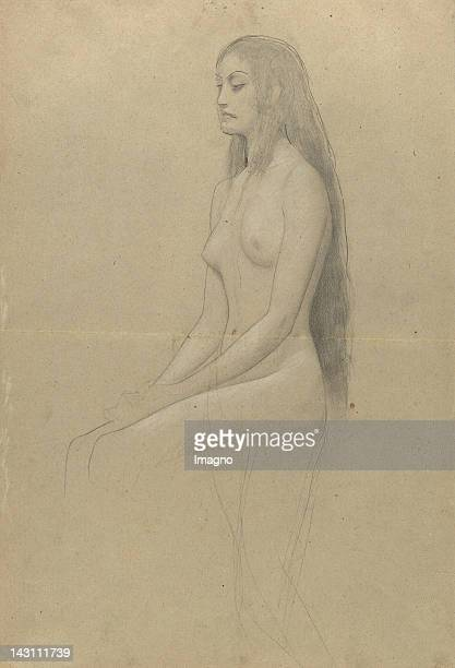 Sitting female nude with long hair Profile to the left 18861888 Pencil Black and white chalk 454 x 31 cm
