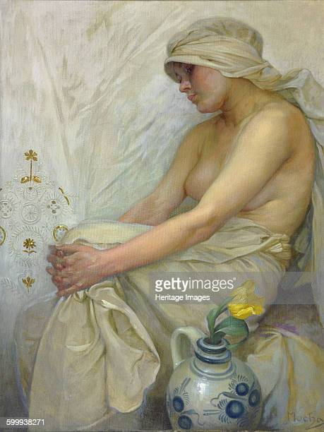 Sitting girl, c. 1914. Private Collection. Artist : Mucha, Alfons Marie .
