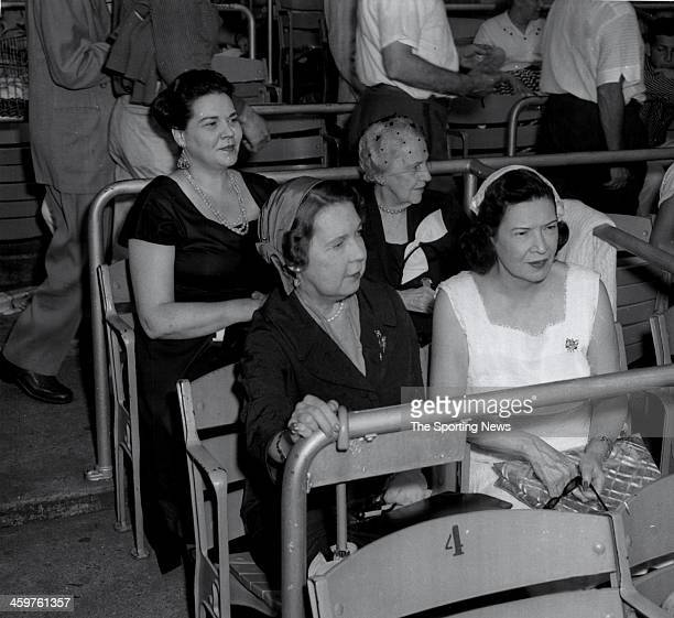Sitting in Box during Old Timers Ceremonies are Mrs Frank Bracke and Mrs Frank Twichell Mrs Eleanor Gehrig wife of New York Yankees Hall of Fame...