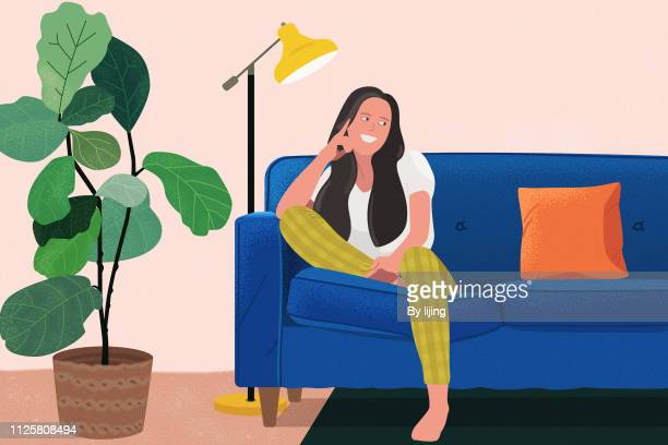 sitting in couch - illustration stock pictures, royalty-free photos & images