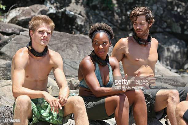 'Sitting in My Spy Shack' Spencer Bledsoe Latasha 'Tasha' Fox and Jeremiah Wood during the ninth episode of SURVIVOR CAGAYAN Wednesday April 23 on...