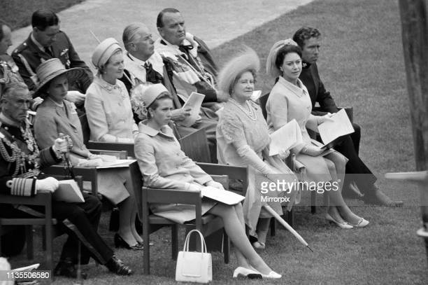 Sitting in the front, Princess Anne, The Queen Mother, Princess Margaret and Lord Snowdon at the Investiture of Prince Charles at Caernarfon Castle,...