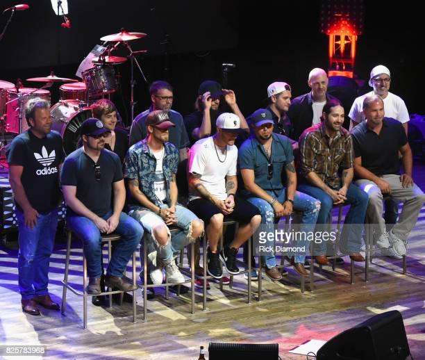 Sitting L/R Singer/Songwriters Deric Ruttan Brian Kelley Tyler Hubbard Jason Aldean Josh Thompson and Producer Michael Knox Standing L/R...