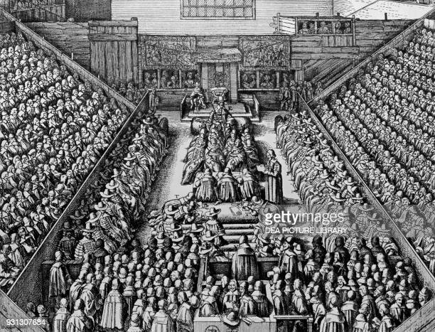 Sitting of Parliament in London 1641 engraving by Wenceslaus Hollar or Wenzel Hollar United Kingdom 17th century